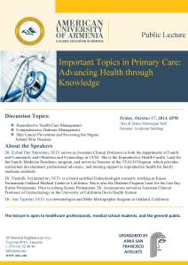 Public Lecture: Important Topics in Primary Care: Advancing Health through Knowledge