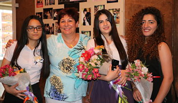 Mer Hooys President Judge Krikorian with three 2016  Graduates