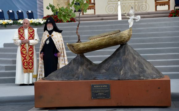 Pope Francis and Catholicos of All Armenians Karekin II stand by a Noah's Ark sculpture during an ecumenical meeting and a prayer for peace in Yerevan's Republic Square on June 25, 2016. / AFP / TIZIANA FABI (Photo credit should read TIZIANA FABI/AFP/Getty Images)